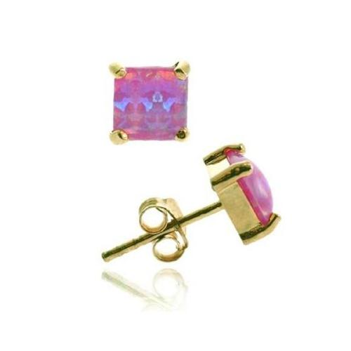 Gold Tone over Sterling Silver 5mm Square Created Pink Opal Stud Earrings