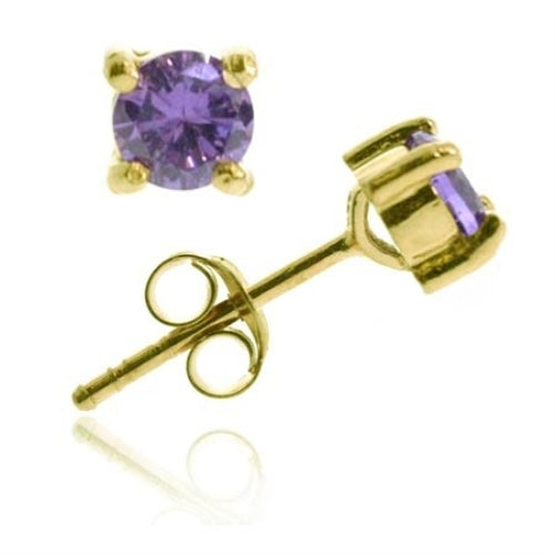 18K Gold Over Sterling Silver Amethyst CZ Round Stud Earrings, 6mm