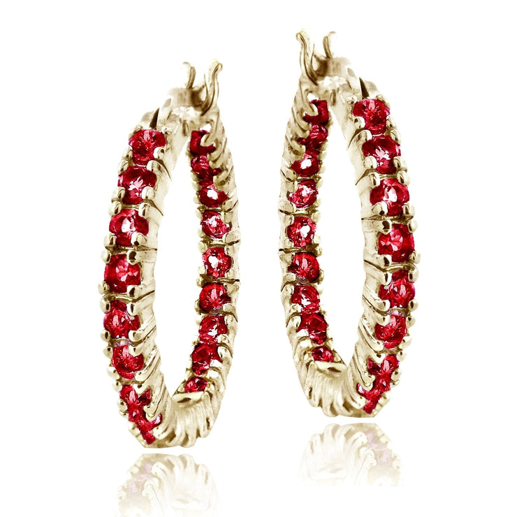 Gold Tone Over Silver Created Red Ruby Inside Out Hoop Earrings