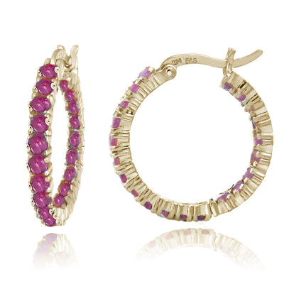 18K Gold Tone over Sterling Silver Inside Out Genuine Ruby Hoop Earrings