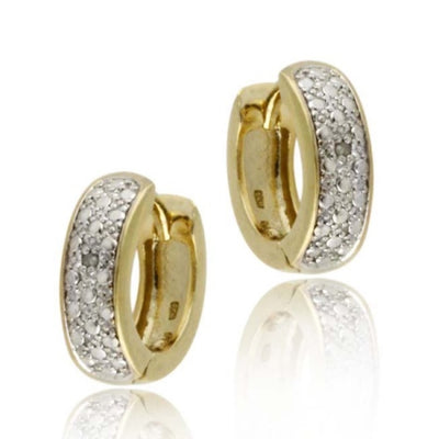 18K Gold over Sterling Silver Diamond Accent Huggies Hoop Earrings