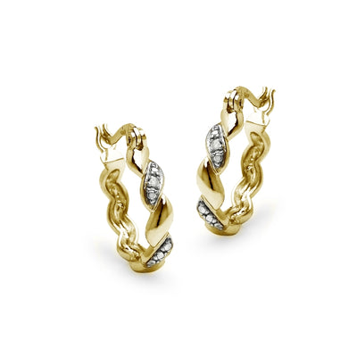 Yellow Gold Flashed Sterling Silver San Marco Diamond Accent 20mm Hoop Earrings, JK-I3