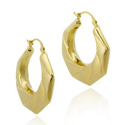 18K Gold Over Sterling Silver Twisted Hoop Earrings