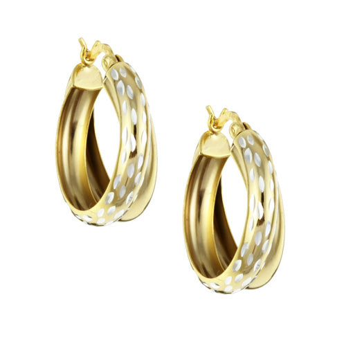 18K Gold over Sterling Silver Double Hoop Diamond-cut Earrings