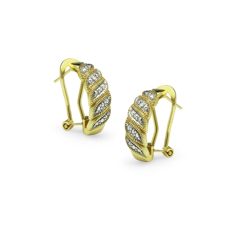 Yellow Gold Flashed Sterling Silver Diamond Accent S Wave Half Hoop Earrings, JK-I3