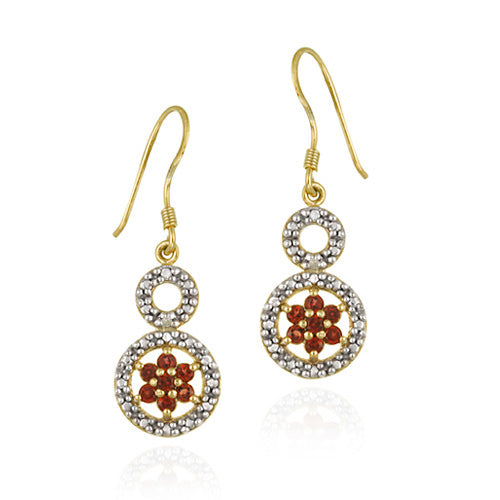 18K Gold over Sterling Silver Garnet & Diamond Accent Double Circle and Flower Earrings