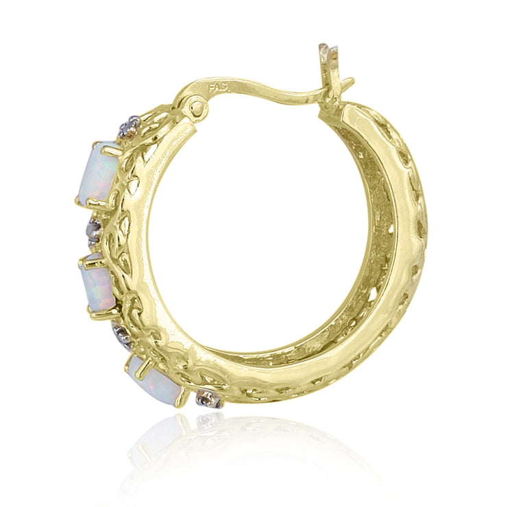 18K Gold over Sterling Silver Created Opal & Diamond Accent Filigree Hoop Earrings
