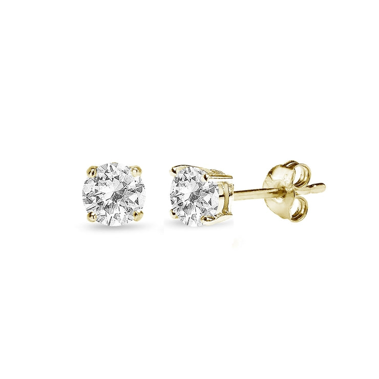 Yellow Gold Flashed Sterling Silver White Topaz 4mm Round-Cut Solitaire Stud Earrings