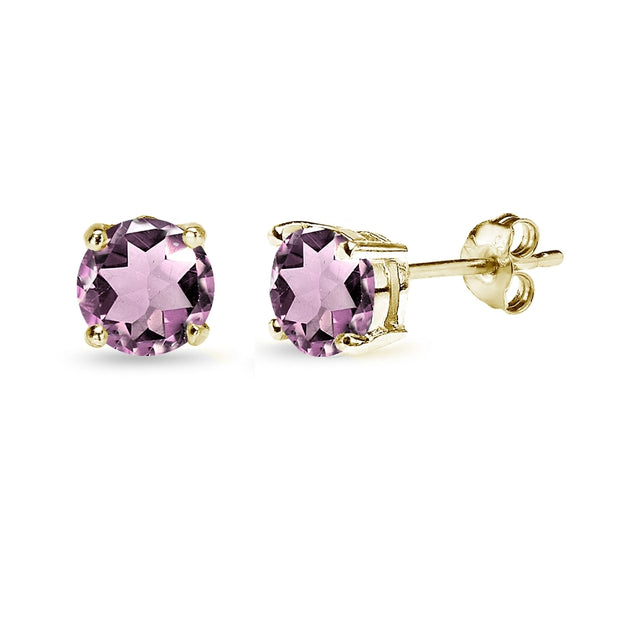 Yellow Gold Flashed Sterling Silver Created Alexandrite 6mm Round-Cut Solitaire Stud Earrings