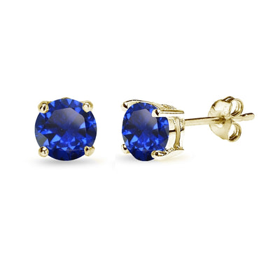 Yellow Gold Flashed Sterling Silver Created Blue Sapphire 6mm Round-Cut Solitaire Stud Earrings