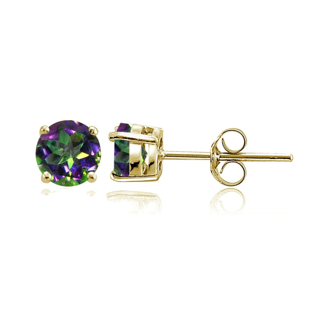 Yellow Gold Flashed Sterling Silver Green Mystic Topaz Round Stud Earrings, 6mm