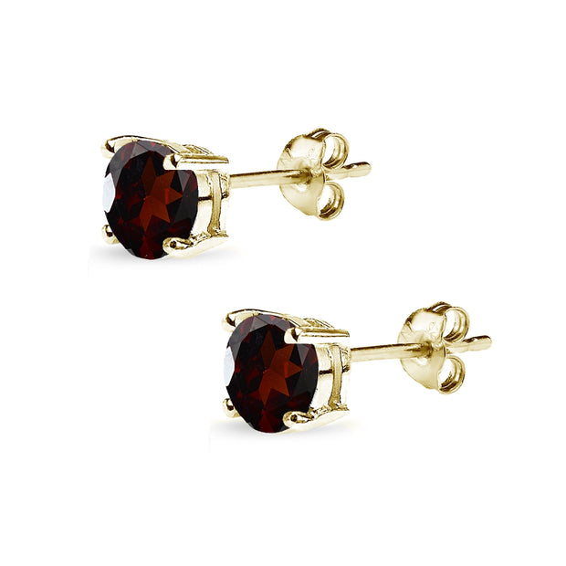 Yellow Gold Flashed Sterling Silver Garnet 6mm Round-Cut Solitaire Stud Earrings