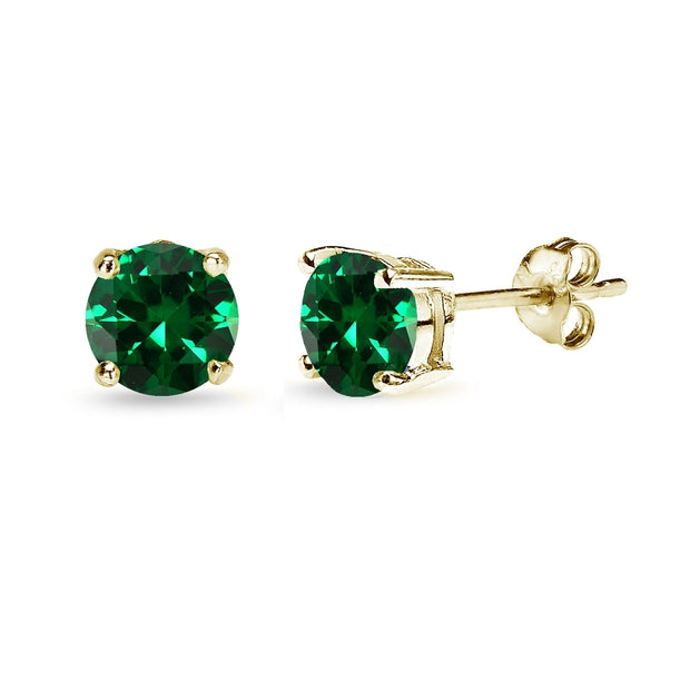 Yellow Gold Flashed Sterling Silver Created Emerald 6mm Round-Cut Solitaire Stud Earrings