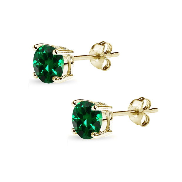 Yellow Gold Flashed Sterling Silver Simulated Emerald 6mm Round-Cut Solitaire Stud Earrings