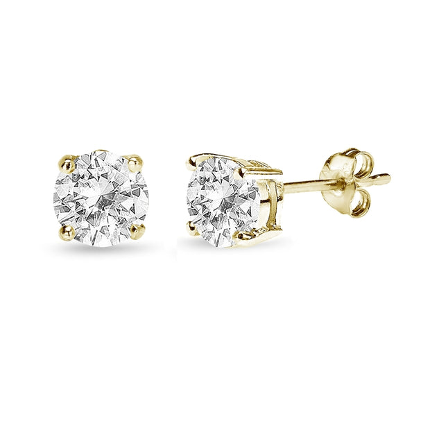 Yellow Gold Flashed Sterling Silver White Topaz 6mm Round-Cut Solitaire Stud Earrings