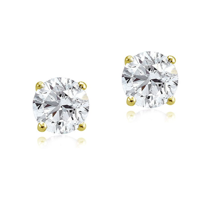 Gold Tone over Sterling Silver 3ct Cubic Zirconia 7mm Round Stud Earrings