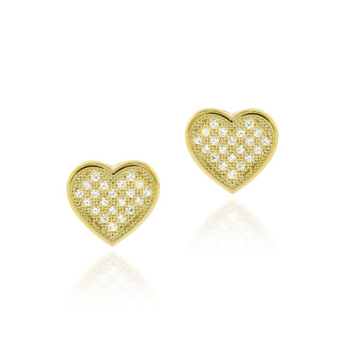 18K Gold over Sterling Silver CZ Micro Pave Heart Earrings
