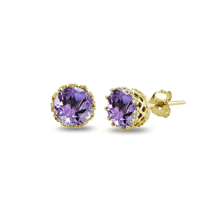 Yellow Gold Flashed Sterling Silver Amethyst Crown Stud Earrings
