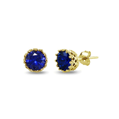 Yellow Gold Flashed Sterling Silver Created Blue Sapphire Crown Stud Earrings