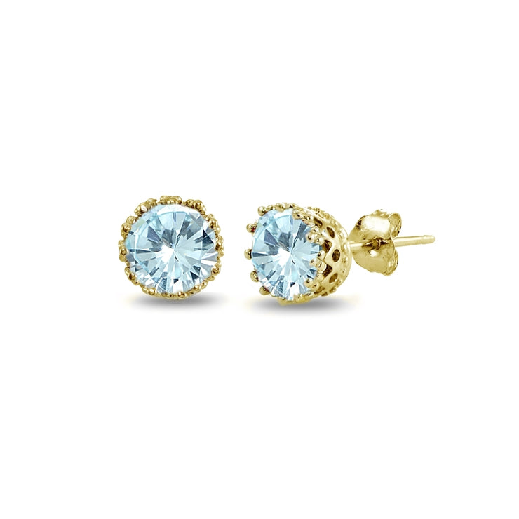 Yellow Gold Flashed Sterling Silver Blue Topaz Crown Stud Earrings