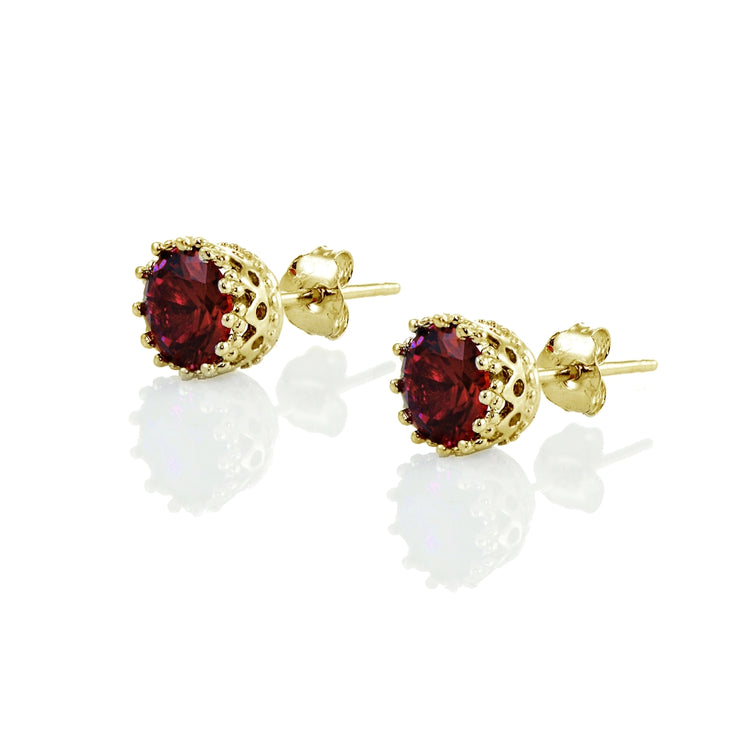 Yellow Gold Flashed Sterling Silver Garnet Crown Stud Earrings
