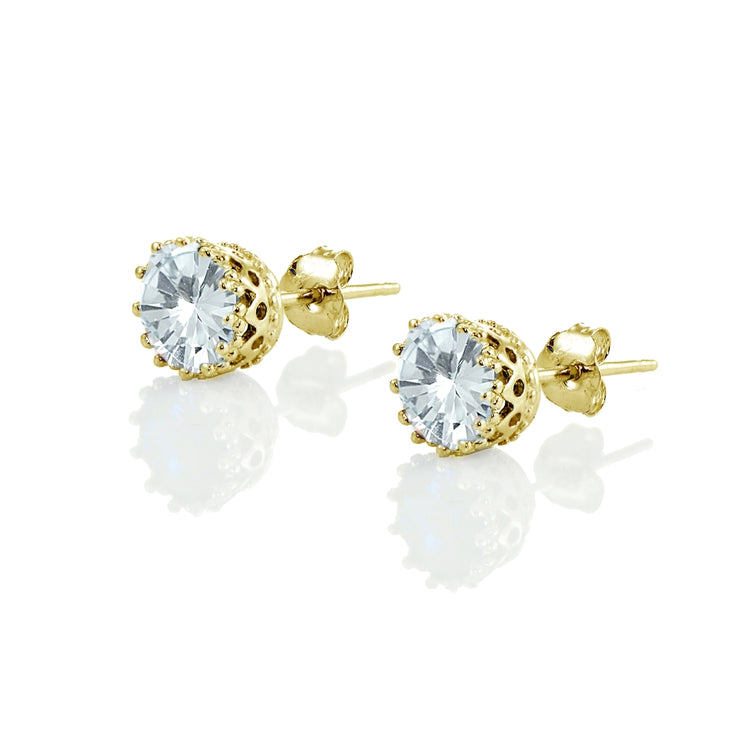 Yellow Gold Flashed Sterling Silver Created Aquamarine Crown Stud Earrings