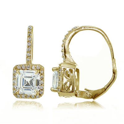 18K Gold over Sterling Silver  Asscher-Cut CZ Drop Earrings