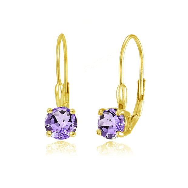 Yellow Gold Flashed Sterling Silver Amethyst 6mm Round Leverback Earrings