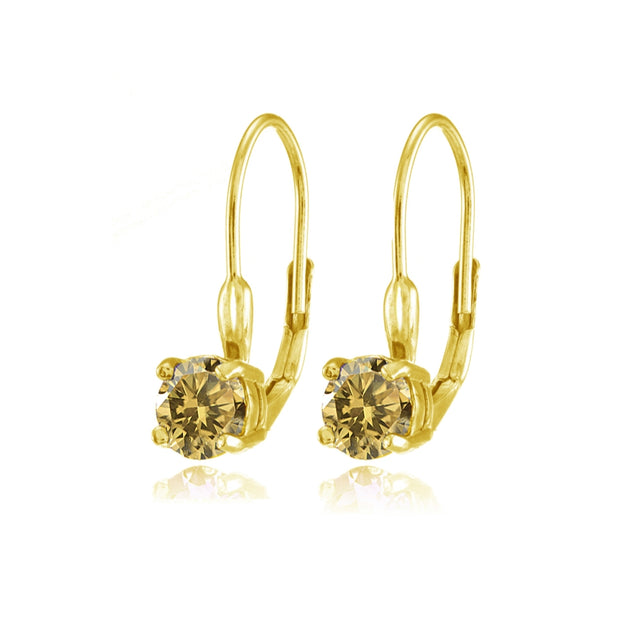 Yellow Gold Flashed Sterling Silver Citrine 6mm Round Leverback Earrings