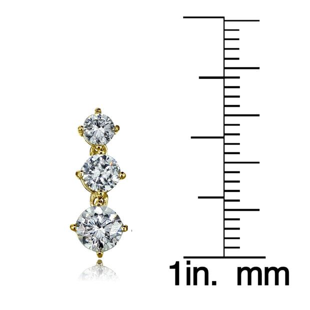 Gold Tone over Sterling Silver Cubic Zirconia Double Curve Crawler Climber Hook Earrings