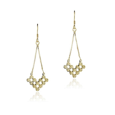 18K Gold over Sterling Silver V Shape Cut-Out Chandelier Earrings