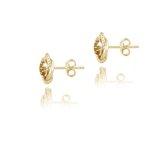 18K Gold over Sterling Silver 1/7ct Yellow Diamond Love Knot Stud Earrings