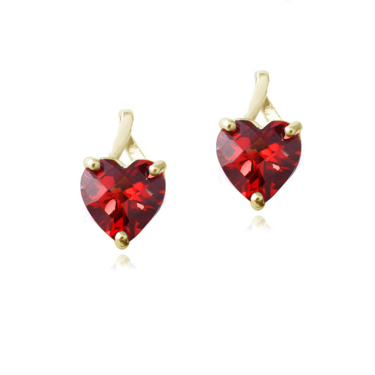 18K Gold over Sterling Silver 2.5ct Created Ruby Briolette-Cut Heart Drop Earrings