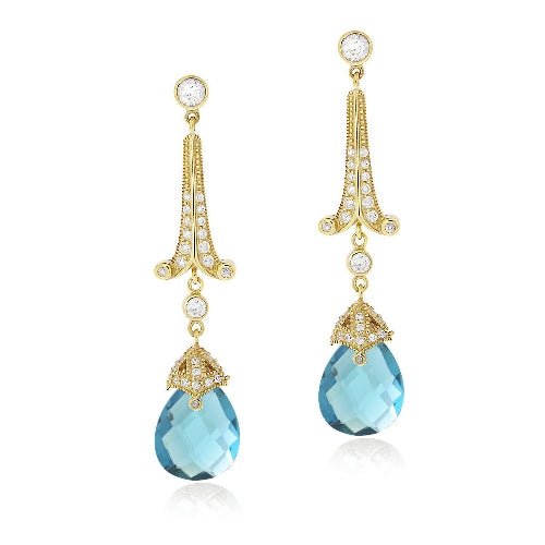 18K Gold over Sterling Silver 18ct Aqua & Clear CZ Estate Dangle Earrings
