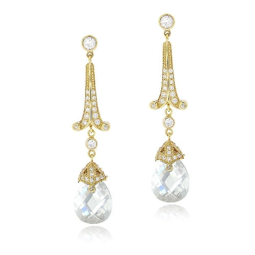 18K Gold over Sterling Silver 18ct Light Blue & Clear CZ Estate Dangle Earrings