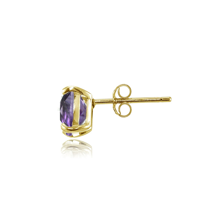 Yellow Gold Flashed Sterling Silver 5mm Cushion-Cut Amethyst Stud Earrings