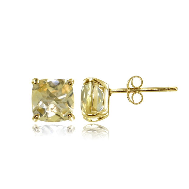 Yellow Gold Flashed Sterling Silver 5mm Cushion-Cut Citrine Stud Earrings