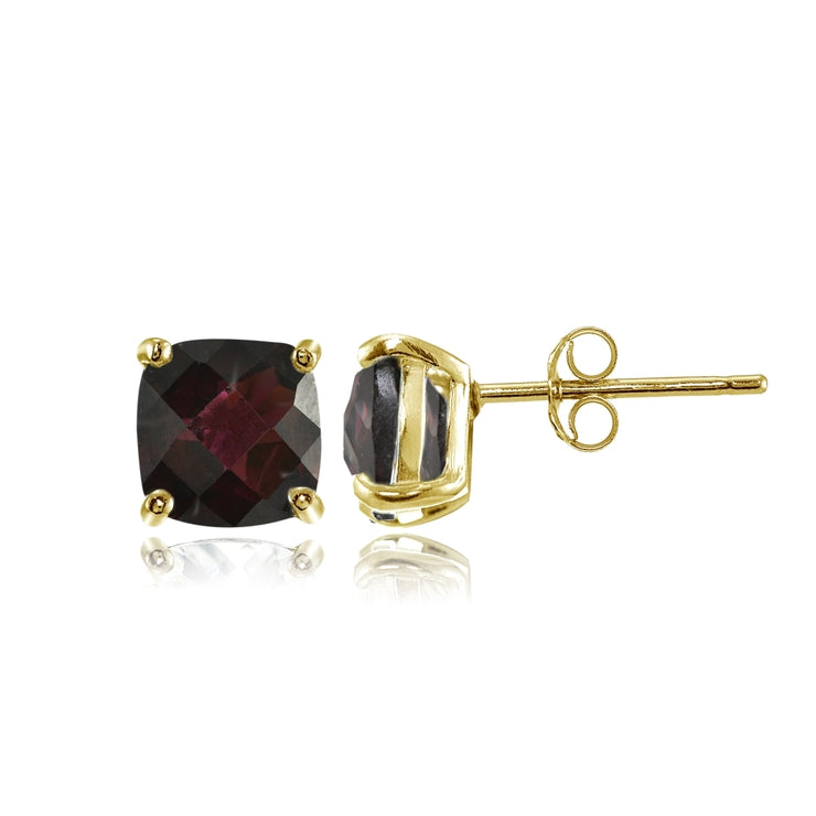 Yellow Gold Flashed Sterling Silver 5mm Cushion-Cut Garnet Stud Earrings