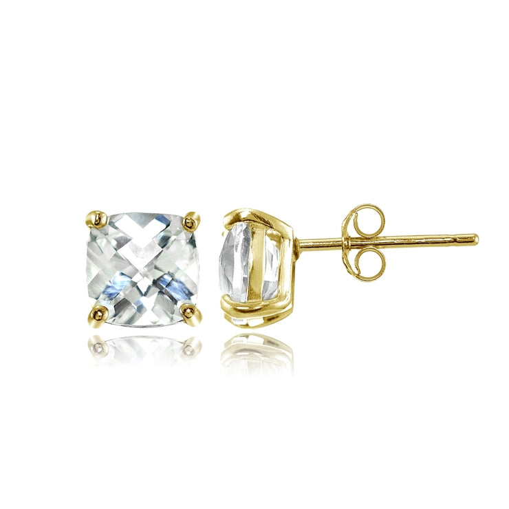 Yellow Gold Flashed Sterling Silver 5mm Cushion-Cut White Topaz Stud Earrings