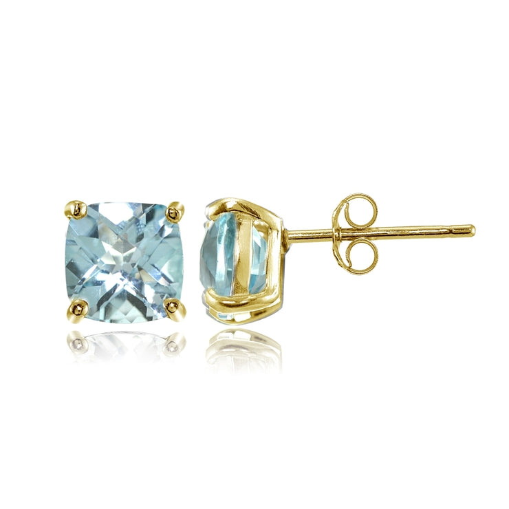 Yellow Gold Flashed Sterling Silver 6mm Cushion-Cut Blue Topaz Stud Earrings