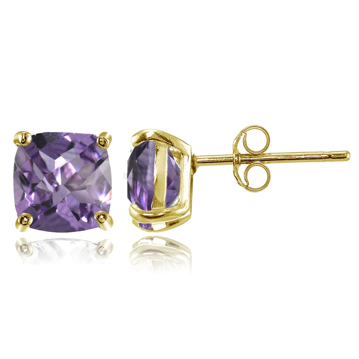 Yellow Gold Flashed Sterling Silver 7mm Cushion-Cut Amethyst Stud Earrings