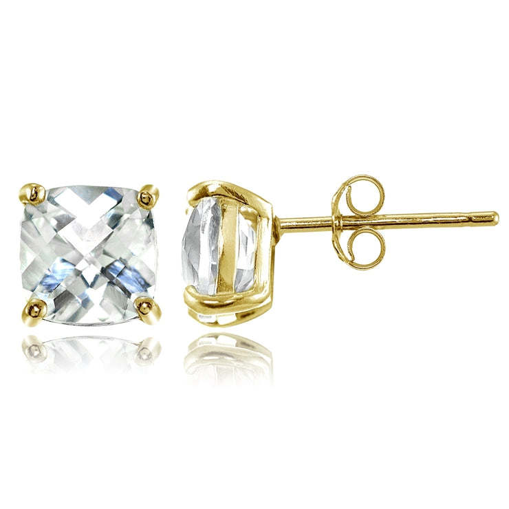 Yellow Gold Flashed Sterling Silver 7mm Cushion-Cut White Topaz Stud Earrings