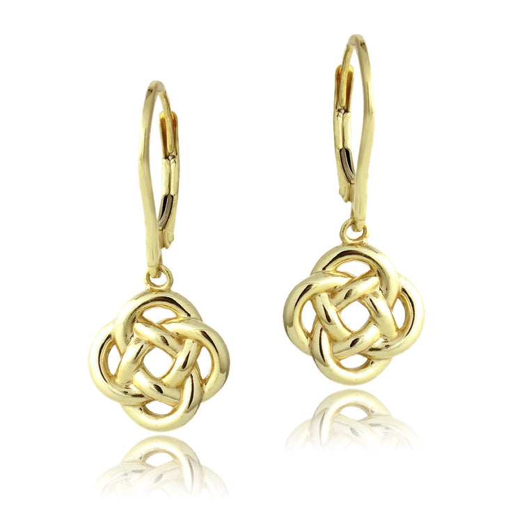 Yellow Gold Flashed Sterling Silver Love Knot Flower Dangle Leverback Earrings