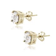 18K Gold over Sterling Silver 1/10 ct Diamond Illusion-Set Stud Earrings