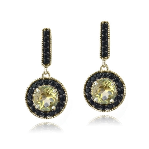 18K Gold over Sterling Silver 2.5ct Citrine & Black Spinel Round Dangle Earrings