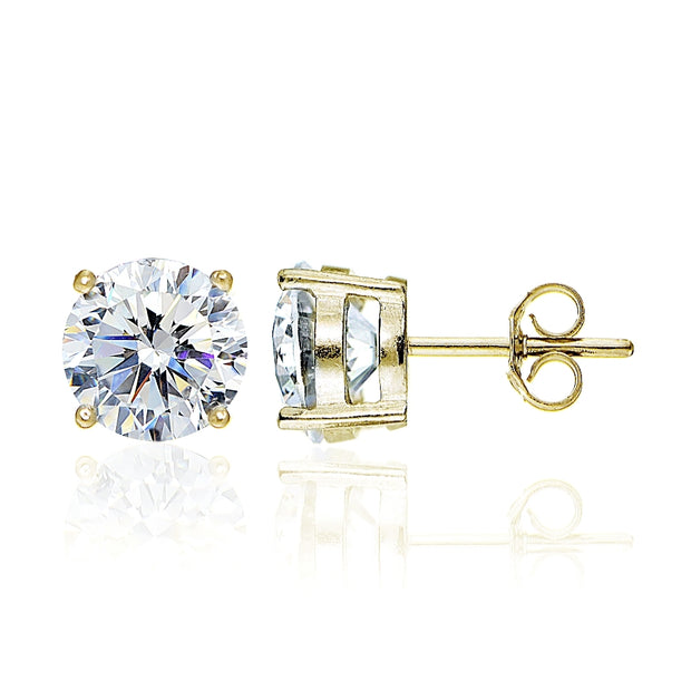 Yellow Gold Flashed Sterling Silver Round 8mm Solitaire Stud Earrings created with Swarovski Zirconia