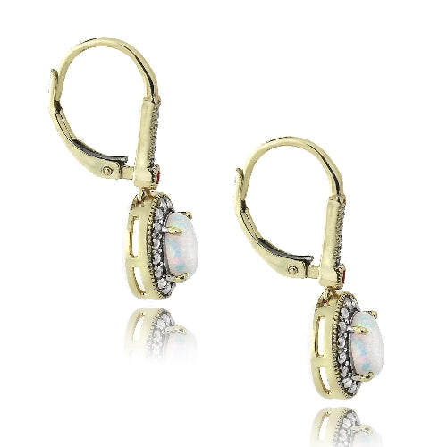 Gold Tone over Silver Diamond Accent Created White Opal & Pink Sapphire Oval Earrings