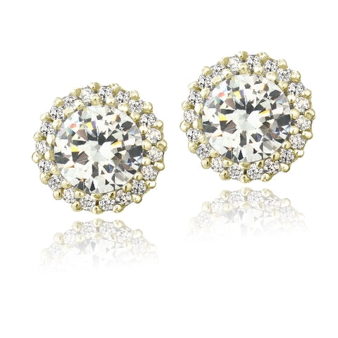 Gold Tone over Sterling Silver CZ Halo Stud Earrings