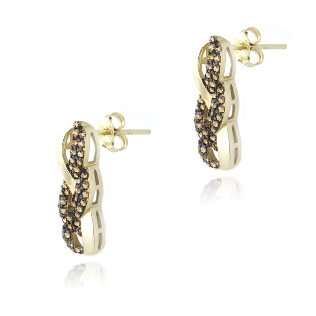 Gold Tone over Sterling Silver 3/4ct Champagne Diamond Infinity Drop Earrings