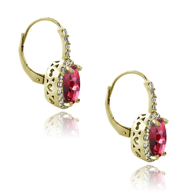 Gold Tone over Sterling Silver 4.6ct Created Ruby & CZ Oval Halo Leverback Earrings